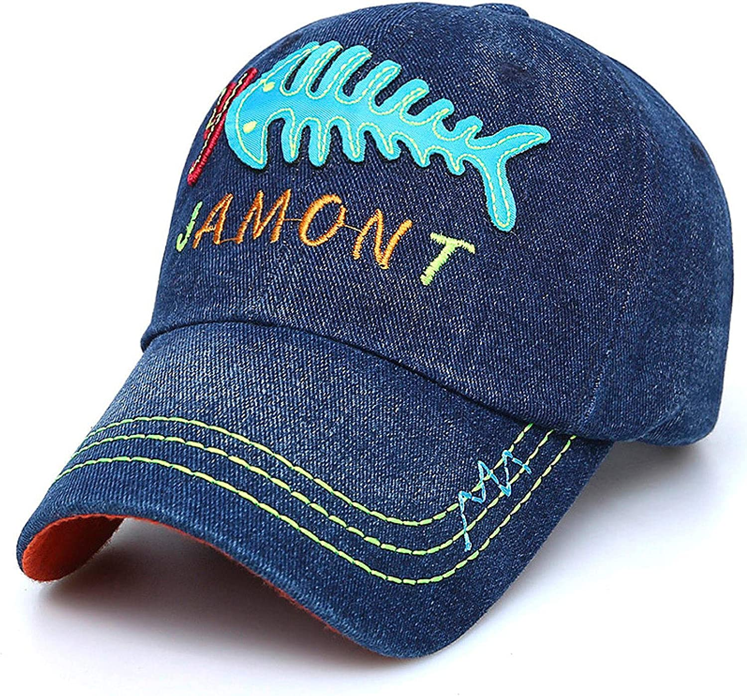 Spring and Summer Cotton Children's Baseball Cap Tide Embroidery Letters Cowboy Hat Sunscreen Sun Hat Boys and Girls Caps Black