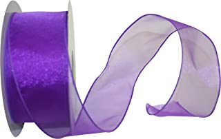 Reliant Ribbon Sheer Lovely Value Wired Edge Ribbon, 2-1/2 Inch X 50 Yards, Purple