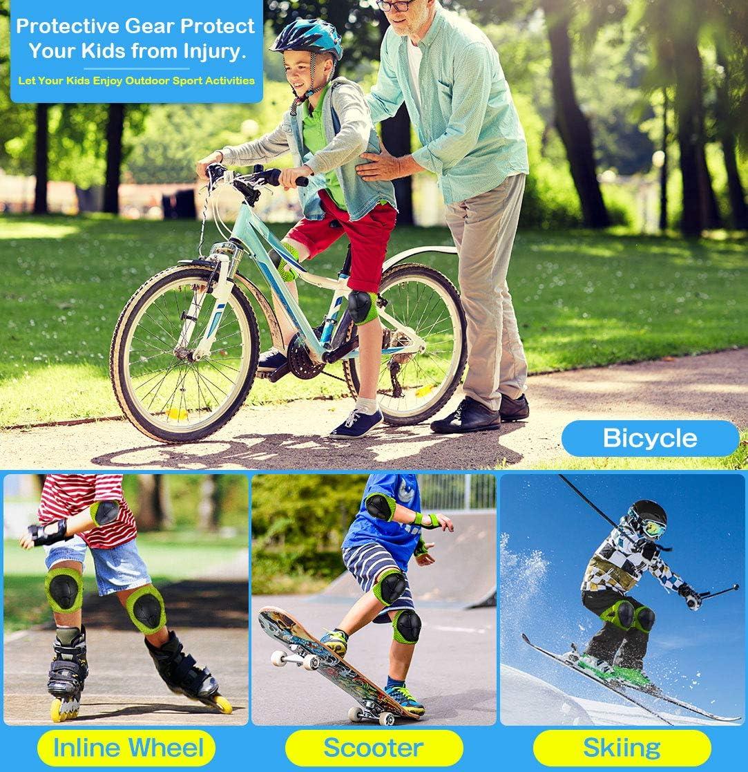 BDPP Genouill/èRes pour Enfants Sets de Protection Enfant Genouill/èRes Coudi/ères Prot/ège Poignets Taille R/églable /Équipement de Protection 6pcs pour Patin /à Roulette V/éLo Skateboard Roller Scooter