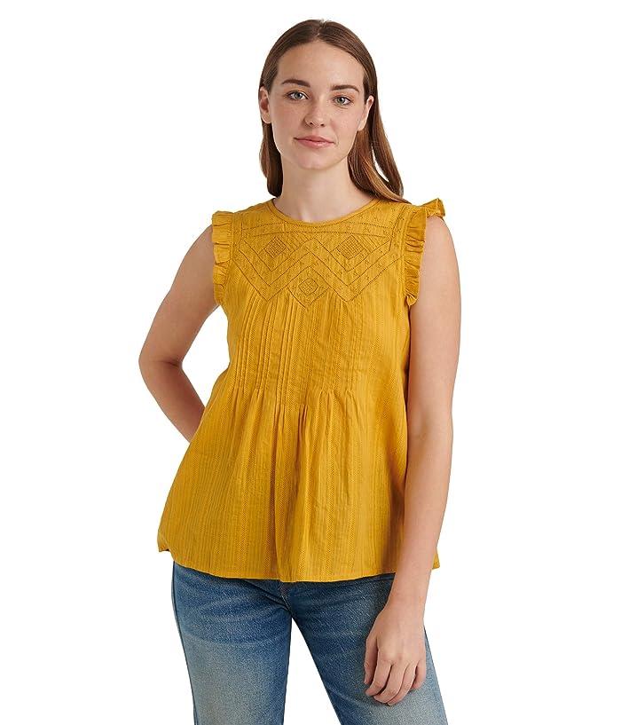 Lucky Brand  Sleeveless Crew Neck Shiffly Ruffle Top (Arrowwood) Womens Clothing