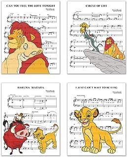 Lion King Song Photos - Set of 4 (8 inches x 10 inches) Music Sheet Poster Prints - Simba Nala Pumbaa Timon