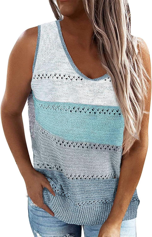 Masbird Tank Tops for Women,Women Summer Scoop Neck Knit Cami Tank Tops Loose Sleeveless Blouse Shirts