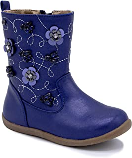 Kids Girls Mid Calf Boot Zip Up with Flower and Embroidery Design -Silvia