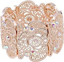 D EXCEED Women's Statement Bracelet Lace Filigree Cuff Bracelet Rhinestone Stretch Bangle Bracelet for Ladies 7