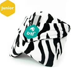 trtl Pillow Junior, Kids Travel Pillow with Built in Neck Support, Ergonomic Design and Hypoallergenic Fleece Travel Accessories for Kids Aged 8+ (Zebra)