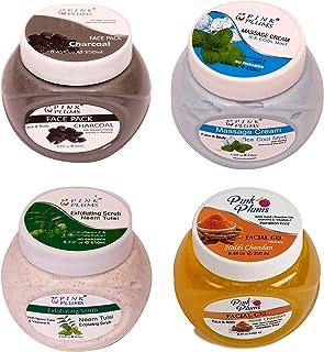 PINK PLUMS Glowing Charcoal FacePack, Cool Mint Massage Cream, Neem-Tulsi Scrub & Haldi Chandan Facial Gel With Vitamin E ...