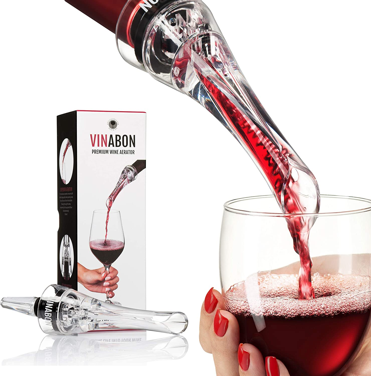 VINABON NEW before selling Wine Aerator for Bottles - Air 2-in-1 Bombing free shipping Premium