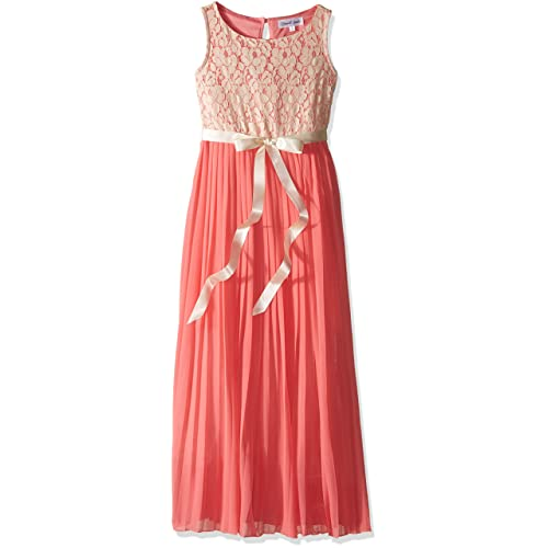 026d0c80ad784 Amazon.com: Emerald Sundae Girls' Big Coral Pleated Maxi Dress with ...
