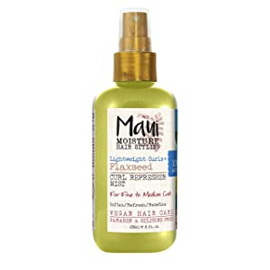 Maui Moisture Lightweight Curls + Flaxseed Curl Refresher Mist, Conditioning and Moisturizing Spray with Aloe Vera, Flaxseed Oil, Coconut Water, Vegan, Paraben Free, Silicone Free, 8oz
