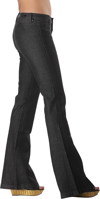 Black Studded Flare Jeans   Designer Bell Bottom Jeans Low Rise