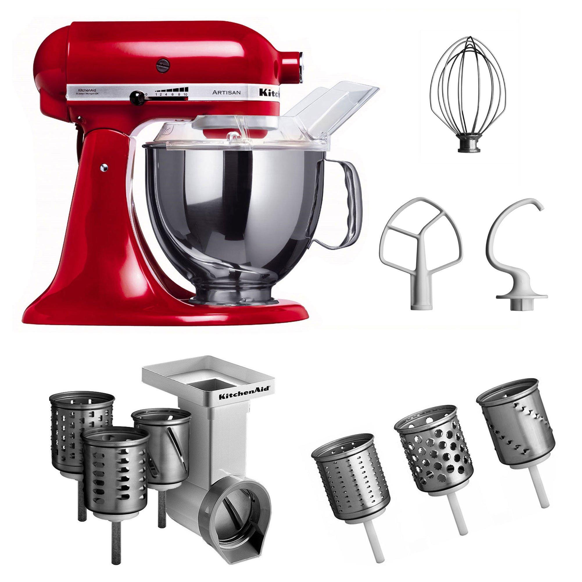 KitchenAid KSM150PSEER + MVSA + EMVSC - Robot de cocina y juego de accesorios, 3 piezas, color rojo [Importado de Alemania]: Amazon.es: Hogar