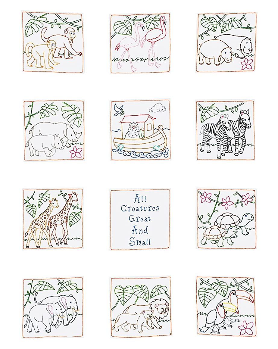 Jack Dempsey Stamped White Nursery Quilt Blocks, 9-Inch by 9-Inch, Noah's Ark, 12-Pack (300 890)