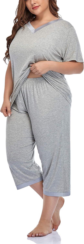 ZERDOCEAN Women's Plus Size Pajama Sets, Sleepwear Short Sleeves Tops with Capri Pants Nightwear Pj Lounge Sets