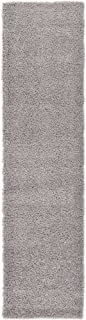 Unique Loom Solo Solid Shag Collection Modern Plush Cloud Gray Runner Rug (2' 6 x 10' 0)