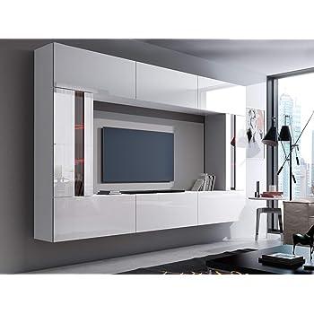 HomeDirectLTD Future 28, Conjunto de Muebles De Salón, Módulo Bajo para TV Y Multimedia, Unidad de Entretenimiento, Mueble TV, Suite a Estrenar (Iluminación RGB LED Opcional) (28_HG_W_2, RGB Remoto): Amazon.es: Hogar