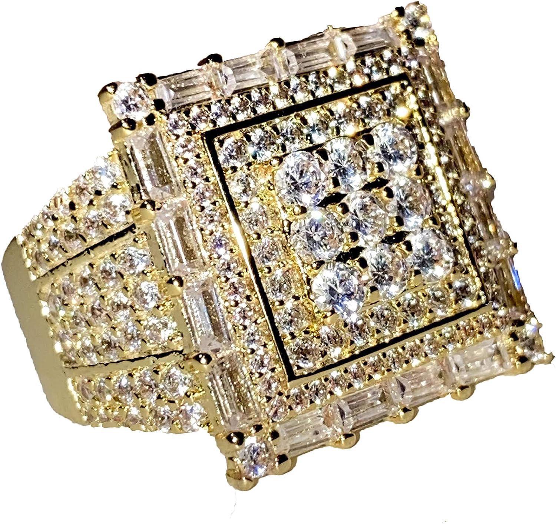 新品未使用正規品 Shop-iGold Pinky 14k Gold デポー Finish CZ Iced Ring for Men Out Ho Hip