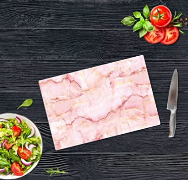 Cutting Boards Marble Looking Glass Cutting Board Vegetables Bread Chopping Board Serving Board for Kitchen Pink 20x30 Cuttin