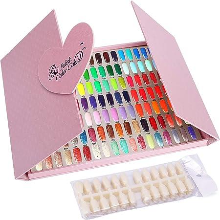 Noverlife Scheda display a colori per unghie, 126 display a colori per smalto per unghie con punte, tavolo da disegno professionale per campioni di colori per unghie
