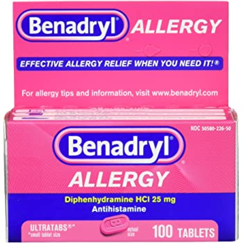Benadryl Ultratabs Antihistamine Allergy Relief Tablets, Diphenhydramine HCl 25mg, 100 ct