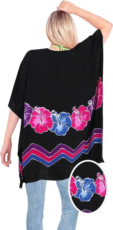LA LEELA Women's One Size Beach Tube Dress Casual Loose Swing Sundress Printed B
