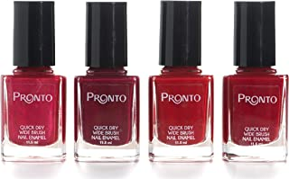 Pronto Color Collection, 4 Pieces Color Set – Long Lasting, Quick Dry Nail Polish (11.5 ml/0.40 fl oz ea.) (I Love Reds)