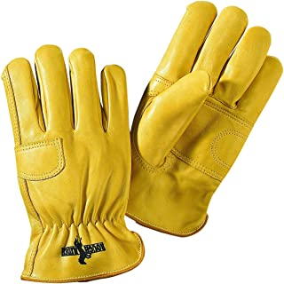 Galeton 2502-L Rough Rider Double Palm Premium Leather Gloves, Elastic Back, Large, Gold (Pack of 12)