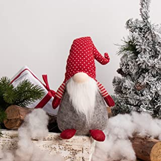 GMOEGEFT Scandinavian Christmas Gnome Plush, Swedish Tomte, Nordic Santa Gnome, Holiday Home Decoration Birthday Gift, 17 Inches(Red with White Dots Stand)