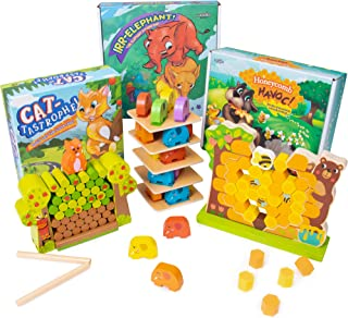 Animal Adventures Children's Board Game Bundle | Three Classic Dexterity Wooden Balancing Family Games | Includes Cat-tastrophe, Irr-Elephant, & Honeycomb Havoc | Game Night Fun, Early Learning Play