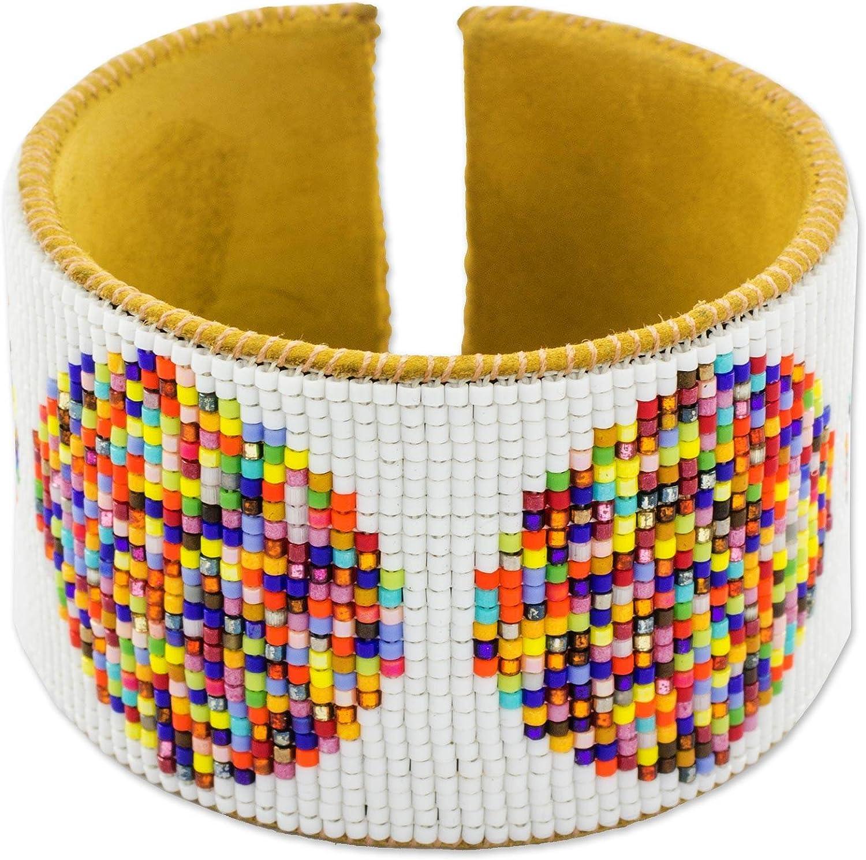 NOVICA Glass Bead Leather Beaded Cuff Bracelet, Fiesta in Santiago'