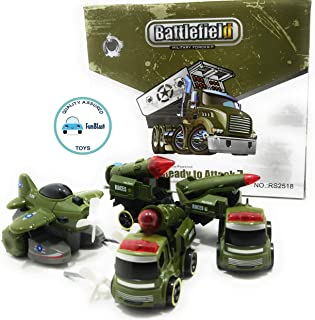 FunBlast Battlefiled Vehicles Play Set- Push and Go Friction Powered Crawling Toy | Fighter Jet Toy, Missile Launcher Toy,...