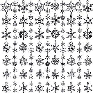 WILLBOND 70 Pezzi Ciondoli di Natale Ciondolo Fiocco di Neve Collezioni Antichi Ciondoli Forniture per Gioielleria per Bra...