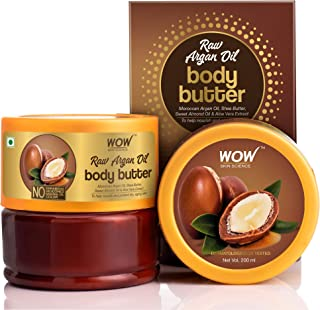 WOW Skin Science Raw Argan Oil Body Butter for Nourishing & Protecting Dry, Aging Skin - For All Skin Types - No Parabens,...