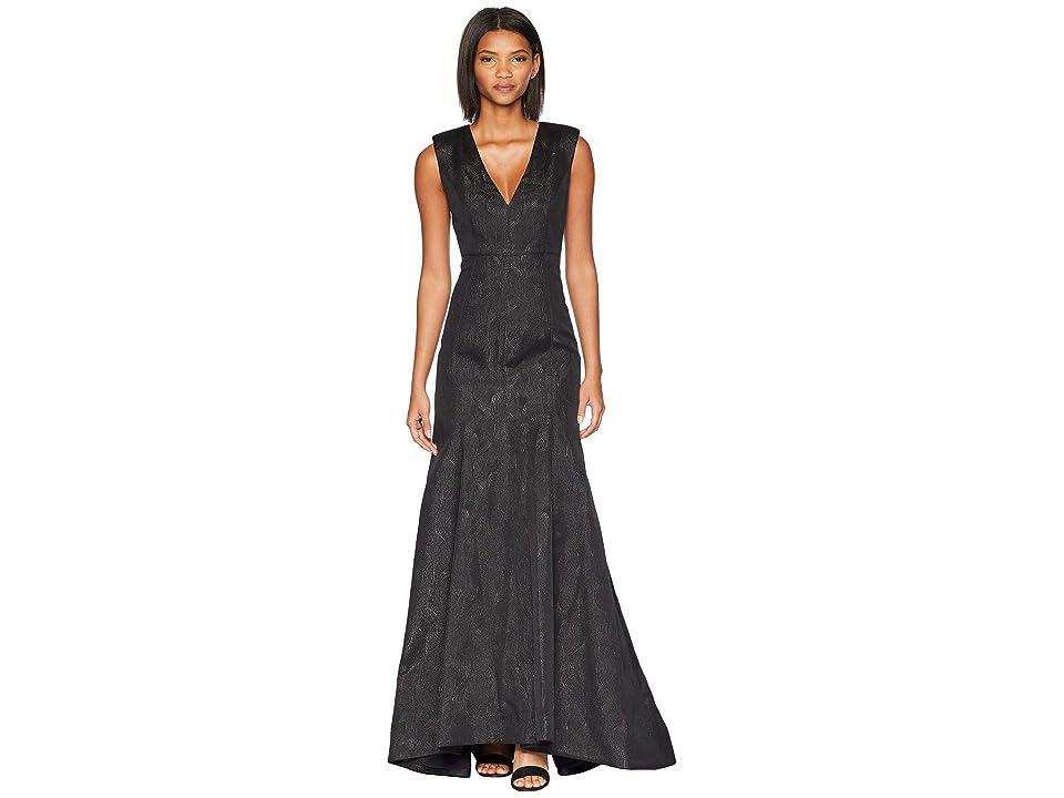 Halston Heritage Cap Sleeve V-Neck Metallic Jacquard Gown (Black) Women