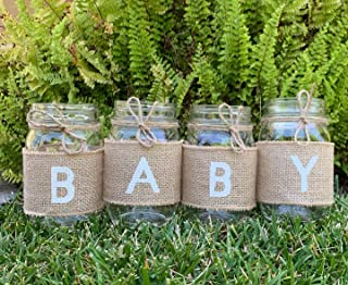 Baby - Burlap Sleeves for Pint Size 16 oz. Mason Jars, Sleeves and Twine Only (Jars not included), Set of 4 to Spell Baby