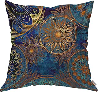 Moslion Throw Pillow Cover Case Vintage Gold Navy Mandala Grunge Stylized Damask Pattern with Circles Floral Ornament in Blue Cushion Covers for Boy Gilrs Bedroom Livingroom 18 x 18 inch Pillow case