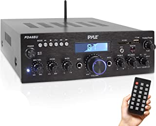 Pyle PDA6BU.5 Compact Bluetooth Stereo Amplifier - Desktop Audio Power Amp Receiver with FM Radio, MP3/USB/SD Readers, Dig...