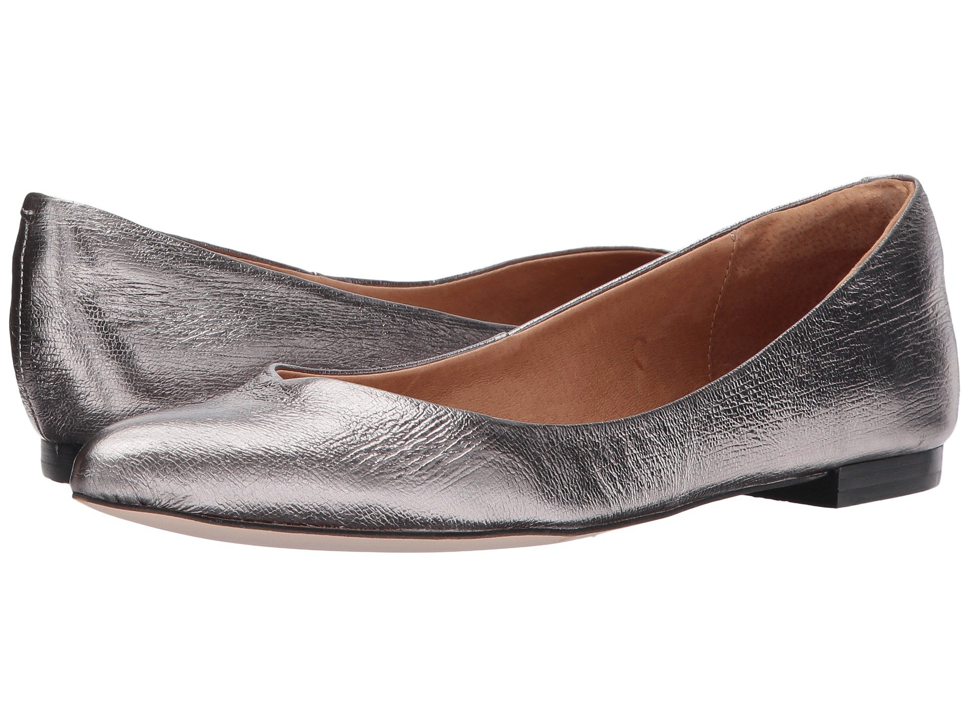 CORSO COMO Julia Pointy Toe Flat in Pewter Crackled Leather