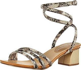 Chinese Laundry Women's Montezuma Heeled Sandal, black/cream snake, 6 M US