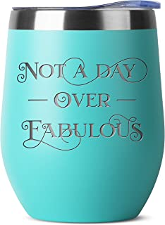 Not A Day Over Fabulous Birthday Gifts for Women Men   Engraved Mint 12 oz Insulated Stainless Steel Tumbler w Lid   Mom Dad Wife Husband Her Bday Gift Ideas   Wine Coffee Cup   Decorations Tumblers