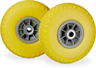 "Relaxdays, Yellow-Gray 2 x Hand Truck Tyre, Non-Flat Solid Rubber Wheels, 3.00-4"", 20mm Axle, 80 kg, 260 x 85 mm"