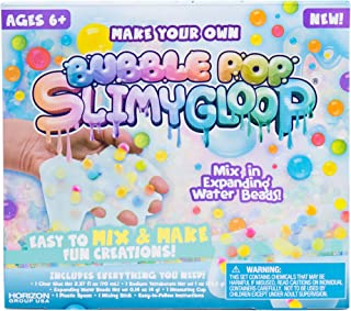 SLIMYGLOOP Make Your Own Bubble Pop DIY Slime Kit by Horizon Group USA, Mix & Create Super Stretchy, Squishy, Gooey, Putty, Crunchy Slime, Expanding Water Beads Included