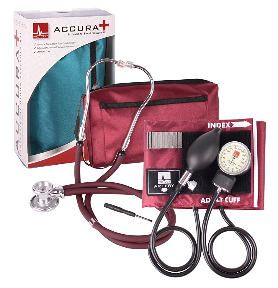 Accura Plus Blood Pressure Cuff and Stethoscope Kit - Black
