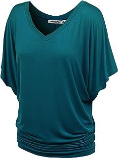 LL Womens V Neck Short Sleeve Tie Dye Drape Dolman Top - Made in USA