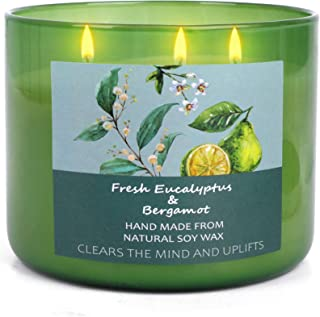 T&H Soy Candles for Home Scented - Aromatherapy Eucalyptus & Bergamot Stress Relief Candles - Relaxing Gifts for Women - 1...