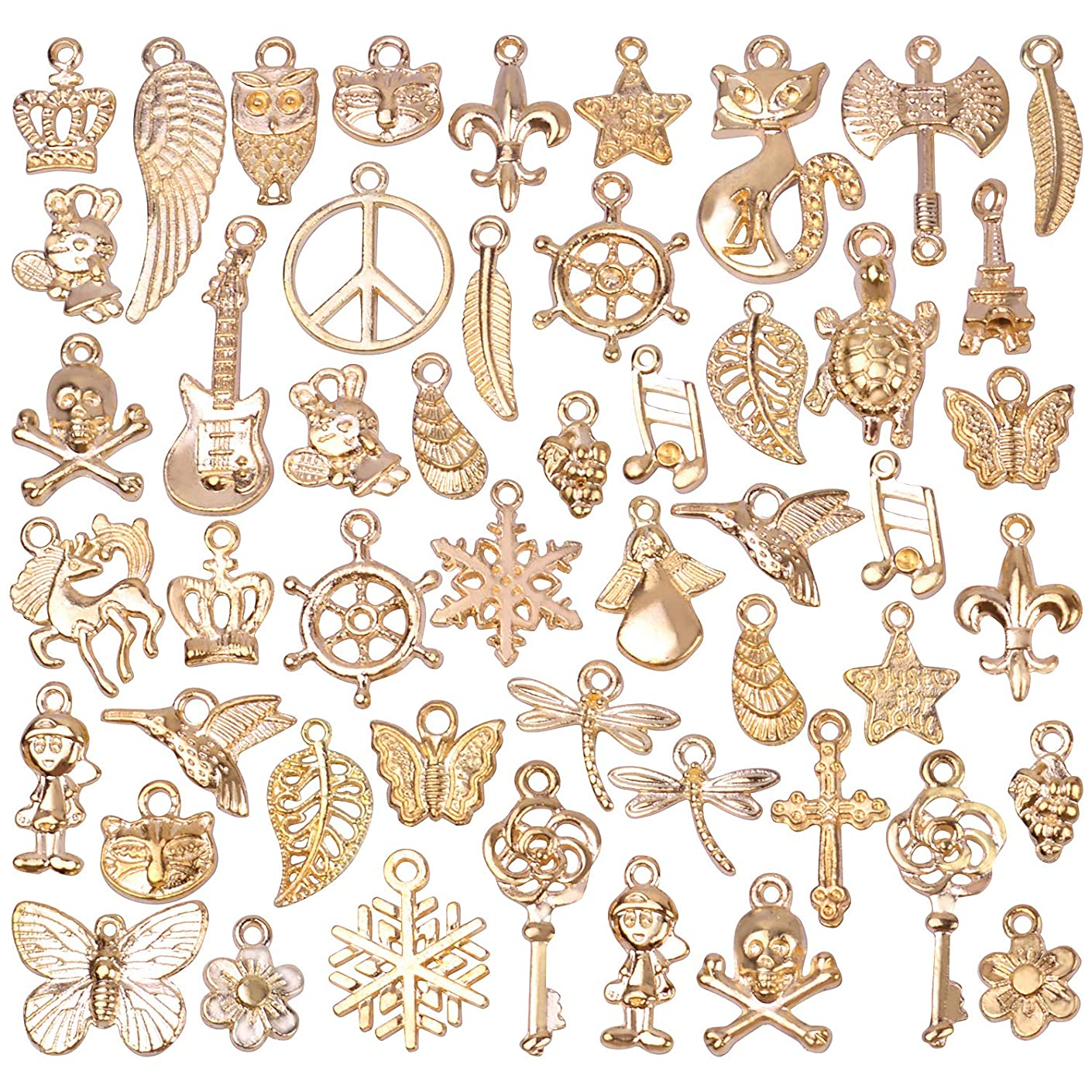 BronaGrand 50 Pieces Mixed Bracelet Charms Antique Necklace Pendants Bulk Pack for Craft and Jewelry Making,Rose Gold
