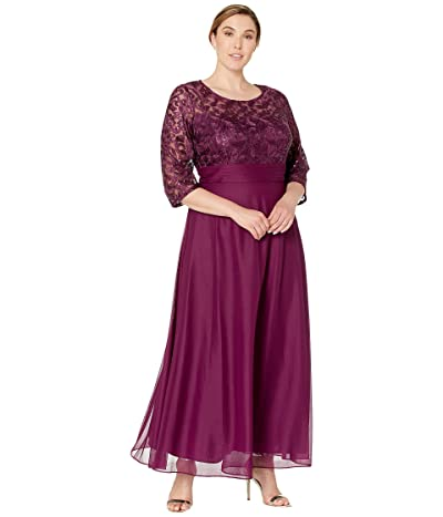 Alex Evenings Plus Size Long A-Line Dress with Embroidered Bodice (Bright Plum) Women