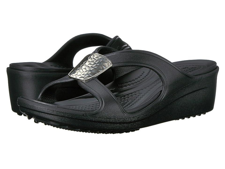 edd9f63a525f Crocs Sanrah Embellished Wedge (Black Silver Metallic) Women s Wedge Shoes  - 3789911 11 M by Crocs