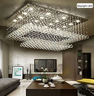 Modern Contemporary Crystal Rectangular Chandelier for Living Room Flush Mount Ceiling Lighting Fixture, H14