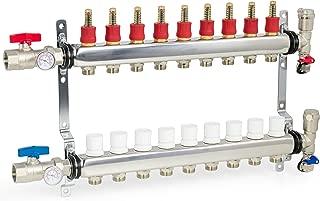 VIVO 9 Loop 1/2 inch Pex Manifold Stainless Steel Radiant Floor Heating Set   9 Branch Kit (PEX-M12-9)