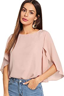 Women's Casual Half Ruffle Sleeve Chiffon Blouse Top